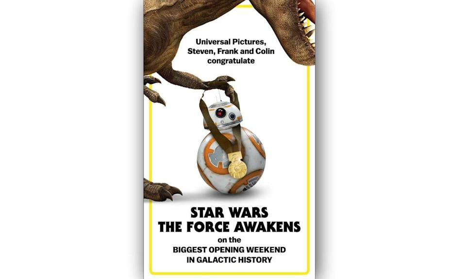 "<p>""Universal Pictures, Steven, Frank and Colin congratulate Star Wars The Force Awakens on the biggest opening weekend in galactic history."" </p>"