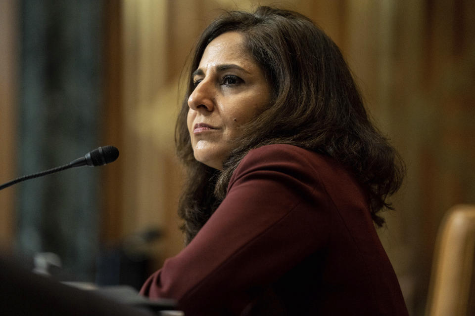 FILE - In this Feb. 10, 2021, file photo Neera Tanden, President Joe Biden's nominee for Director of the Office of Management and Budget (OMB), appears before a Senate Committee on the Budget hearing on Capitol Hill in Washington. (Anna Moneymaker/The New York Times via AP, Pool, File)
