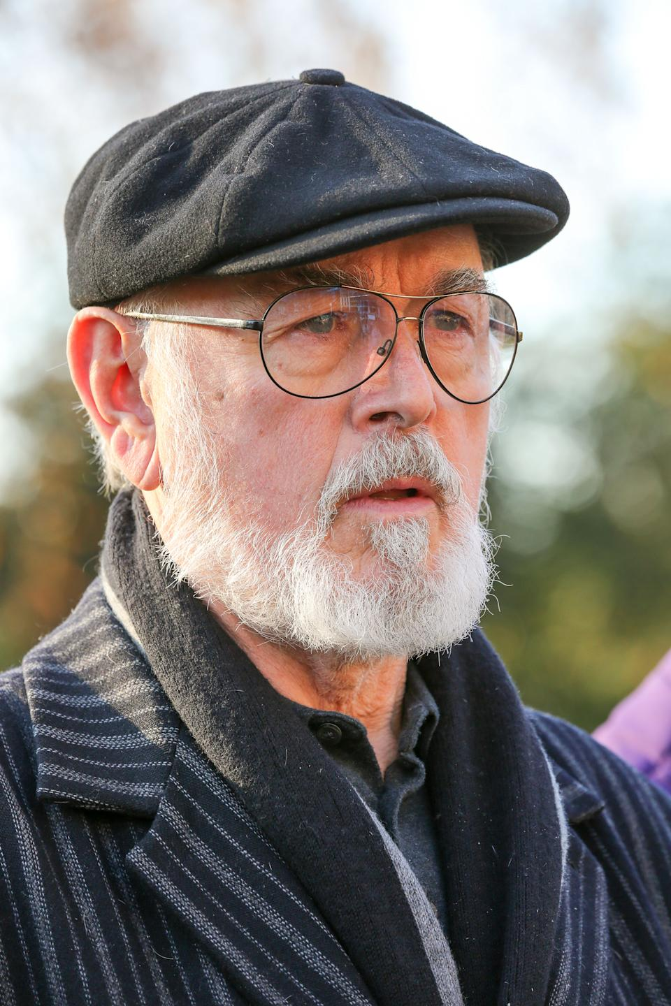 Downton Abbey actor, Peter Egan attends the unveiling of 21 bronze life-sized elephants sculptured by artists, Gillie and Marc at Marble Arch in London. The sculptures are to hight the plight of the species which faces extinction by 2040. The herd of elephants will be on display for one year, until 4 December 2020. (Photo by Steve Taylor / SOPA Images/Sipa USA)