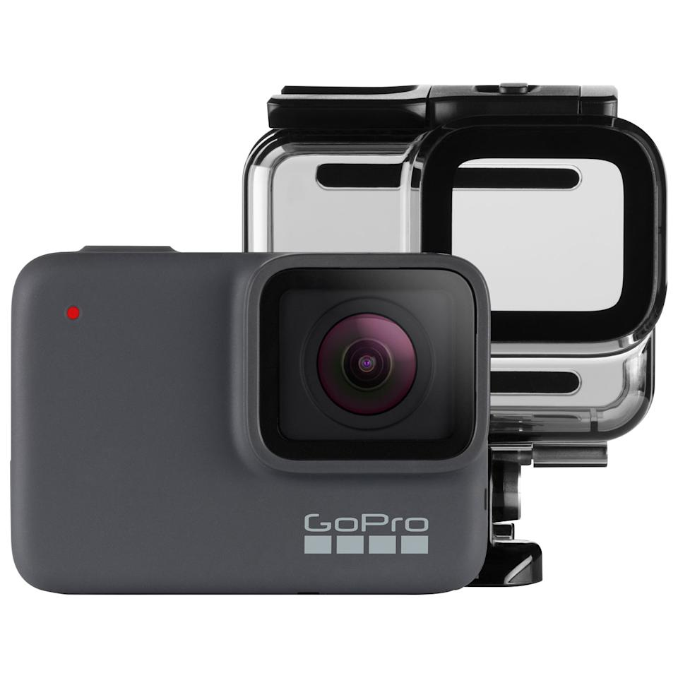 GoPro HERO7 Silver Waterproof 4K Sports & Helmet Camera Bundle. Image via Best Buy.