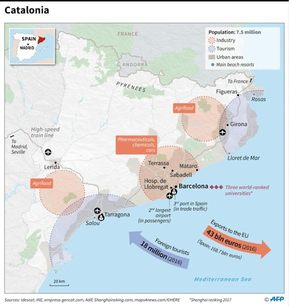Map showing Catalonia's infrastructure and principal economic strengths