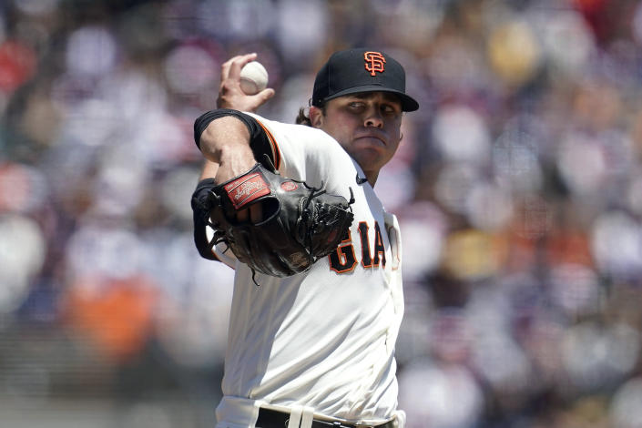 San Francisco Giants' Sammy Long pitches against the Oakland Athletics during the first inning of a baseball game in San Francisco, Sunday, June 27, 2021. (AP Photo/Jeff Chiu)