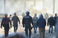 French police and paramilitary gendarmes took control of the site on Saturday morning