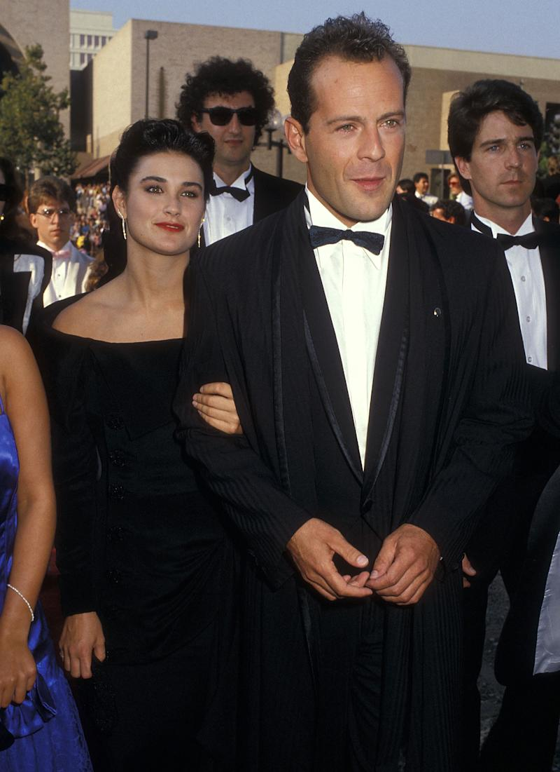 Actress Demi Moore and actor Bruce Willis attend the 39th Annual Primetime Emmy Awards on September 20, 1987 at the Pasadena Civic Auditorium in Pasadena, California.