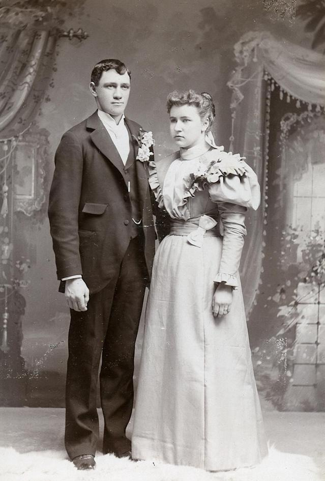 "<p>He said: ""What we see is two people about to jump into a void in a very workman-like fashion."" (Pictured: Vintage wedding portraits from ""I Do, I Do"" exhibit) </p>"