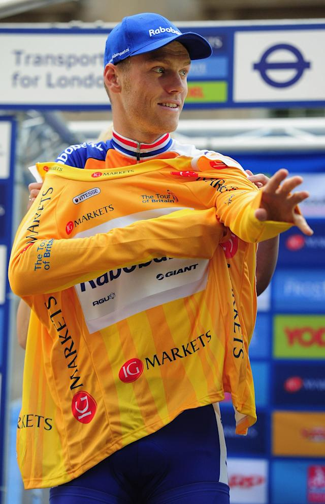 LONDON, ENGLAND - SEPTEMBER 18: Lars Boom of Team Rabobank is the overall winner of the Tour of Britain in London on September 18, 2011 in London, England. (Photo by Jamie McDonald/Getty Images)