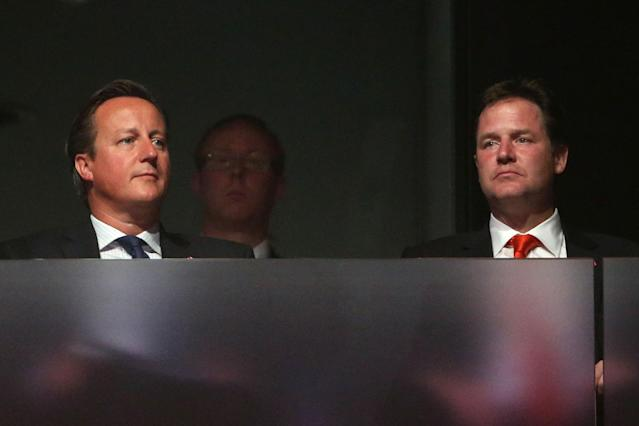 LONDON, ENGLAND - SEPTEMBER 09: Prime Minister David Cameron and Deputy Prime Minister Nick Clegg look on during the closing ceremony on day 11 of the London 2012 Paralympic Games at Olympic Stadium on September 9, 2012 in London, England. (Photo by Peter Macdiarmid/Getty Images)
