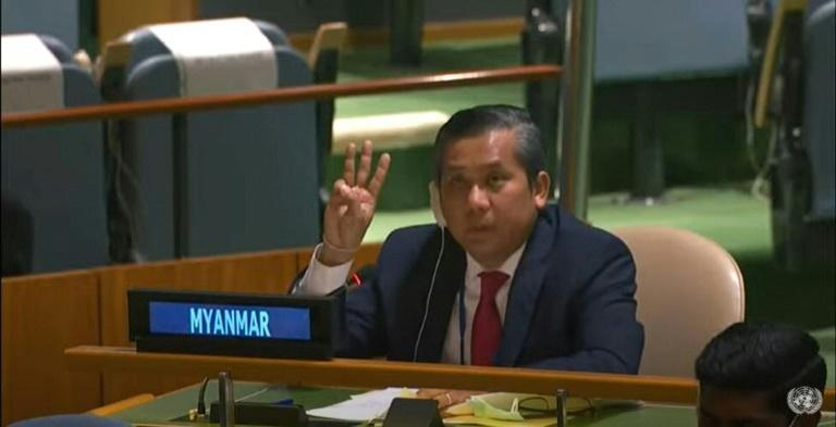 This screengrab of handout video made available on the United Nations' YouTube channel shows Myanmar's ambassador to the UN Kyaw Moe Tun making a three-finger salute as he addresses an informal meeting of the United Nations General Assembly on February 26, 2021 in New York
