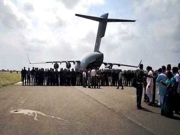 IAF C-17 evacuation flight from Kabul landing in Jamnagar with Indian officials on Tuesday.
