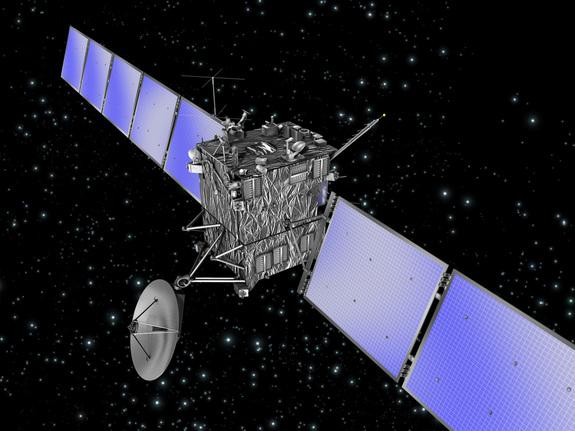 An artist's illustration of the European Space Agency's comet-chasing Rosetta spacecraft. Rosetta will explore Comet 67-P/Churyumov-Gerasimenko when it arrives at the object in August 2014.