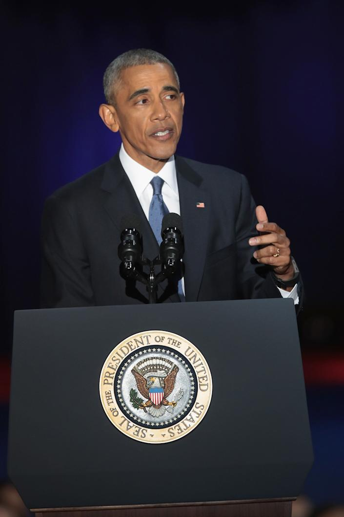 """Obama blasted """"zero-sum"""" politics as he drew a sharp contrast with his successor in his farewell address, acknowledging that despite his historic election eight years ago, his vision for the country will exit the White House with him."""