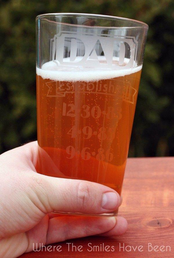 """<p>Gift this engraved glass with a bottle of Dad's favorite brew.</p><p><strong>Get the tutorial at <a href=""""https://www.wherethesmileshavebeen.com/dual-sided-dad-grandpa-established-etched-glass/"""" rel=""""nofollow noopener"""" target=""""_blank"""" data-ylk=""""slk:Where the Smiles Have Been"""" class=""""link rapid-noclick-resp"""">Where the Smiles Have Been</a>.</strong><br></p><p><strong><a class=""""link rapid-noclick-resp"""" href=""""https://www.amazon.com/Armour-Etch-15-0200-Cream-10-Ounce/dp/B001BE3UM4?tag=syn-yahoo-20&ascsubtag=%5Bartid%7C10050.g.1171%5Bsrc%7Cyahoo-us"""" rel=""""nofollow noopener"""" target=""""_blank"""" data-ylk=""""slk:SHOP ETCHING CREAM"""">SHOP ETCHING CREAM</a><br></strong></p>"""