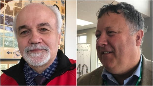 Lee Bodie (left), mayor of Carmacks, and Gord Curran (right), Teslin mayor and president of the Association of Yukon Communities, are weighing in on what issues matter to them most this federal election. Housing, infrastructure, land development and community well-being top the list. (Dave Croft/CBC - image credit)