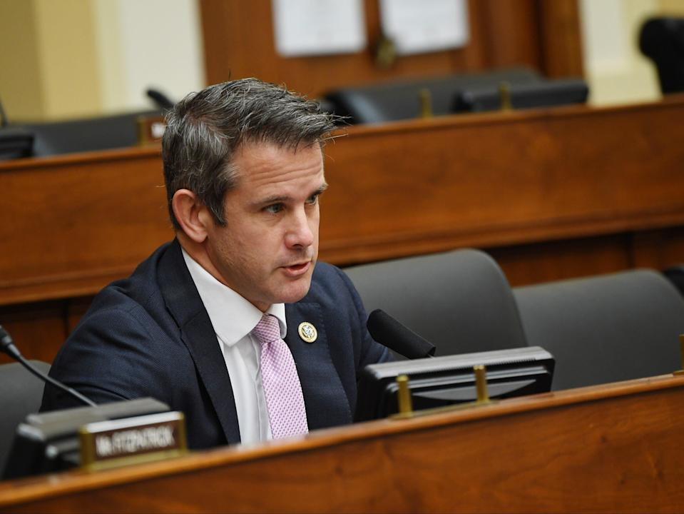 <p>Adam Kinzinger (R-IL) questions witnesses during a House Committee on Foreign Affairs hearing looking into the firing of State Department Inspector General Steven Linick, on Capitol Hill on 16 September 2020 in Washington, DC</p> ((Getty Images))
