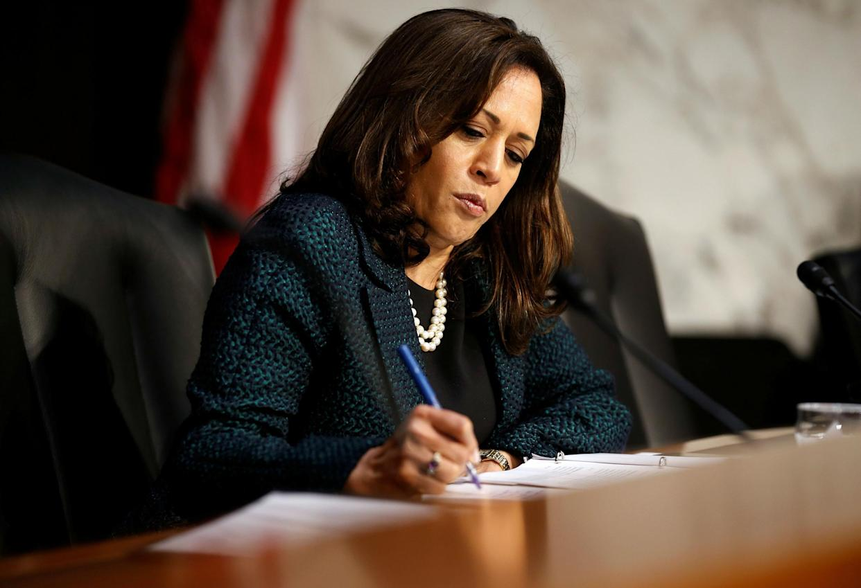 Senator Kamala Harris - seen here in Washington, DC on June 21, 2017 - could be one of the beneficiaries of California changing its elections calendar: REUTERS/Joshua Roberts