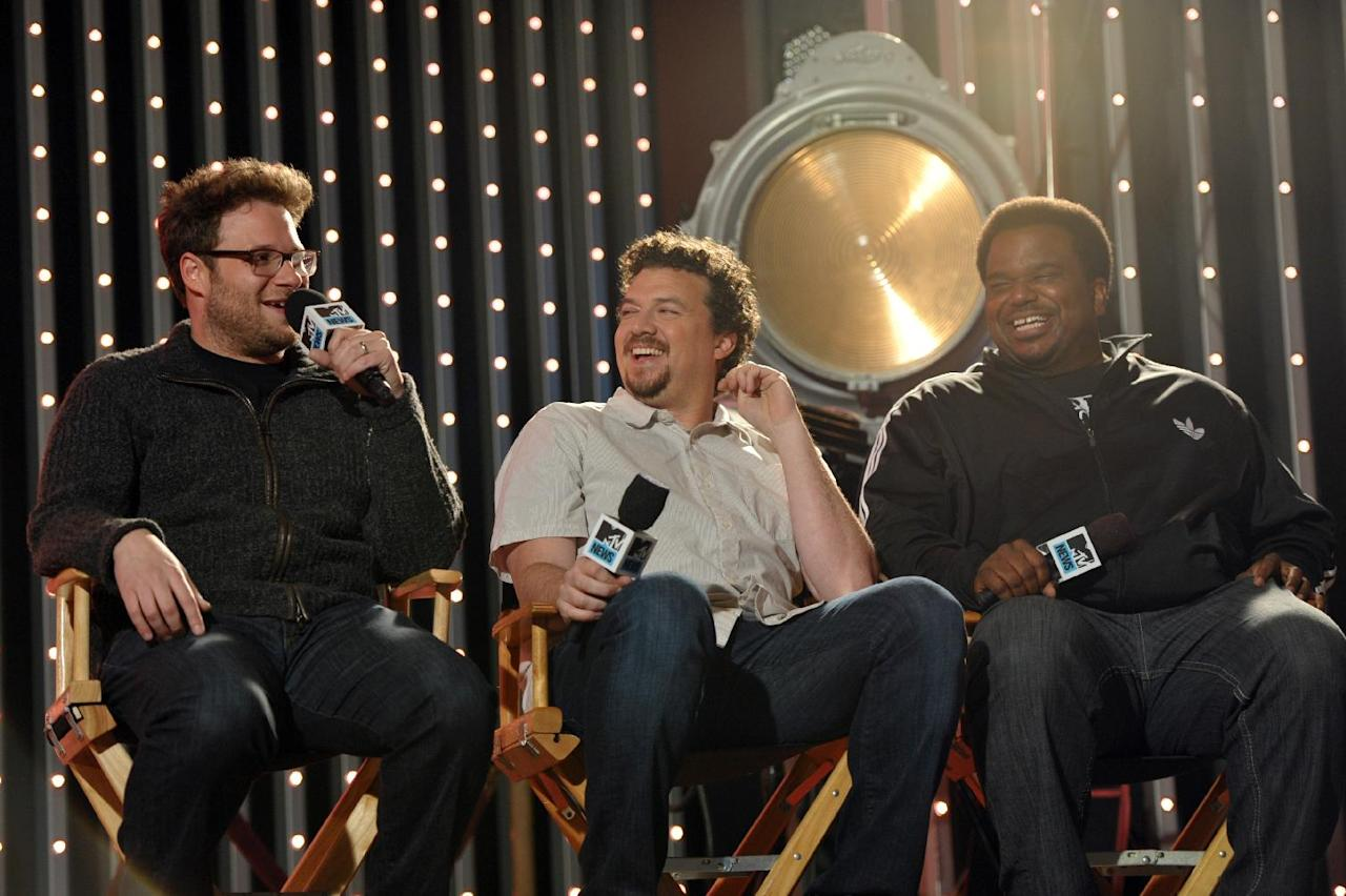 "IMAGE DISTRIBUTED FOR MTV - Members of the cast of ""This is the End"", from left, actors Seth Rogen, Danny McBride and Craig Robinson, are seen at ""The MTV Movie Awards Sneak Peek Week"" on Monday, April 8, 2013 in Universal City, Calif. (Photo by John Shearer/Invision for MTV/AP Images)"