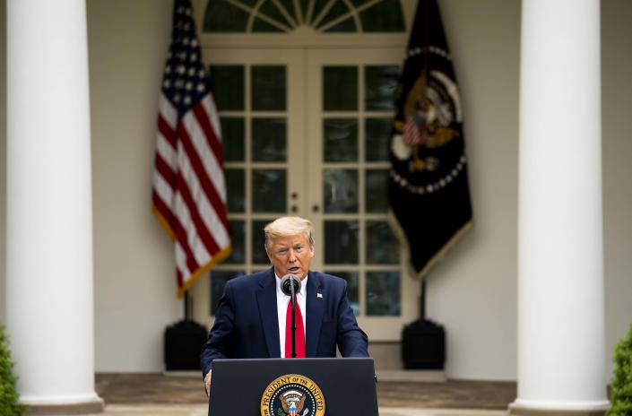 President Donald Trump addresses a news conference about the coronavirus, in the Rose Garden of the White House in Washington, April 14, 2020. (Doug Mills/The New York Times)