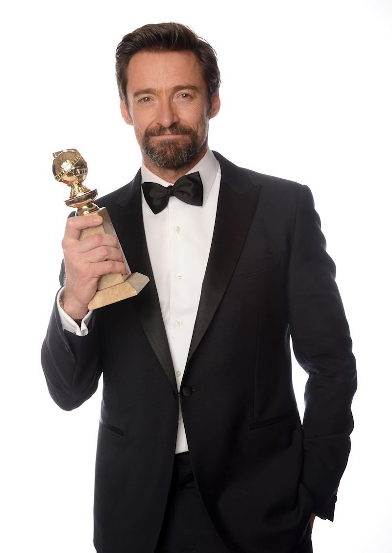 BEVERLY HILLS, CA - JANUARY 13: Actor Hugh Jackman, winner of the 'Best Performance by an Actor in a Motion Picture - Comedy Or Musical Award for 'Les Miserables' poses for a portrait at the 70th Annual Golden Globe Awards held at The Beverly Hilton Hotel on January 13, 2013 in Beverly Hills, California. (Photo by Dimitrios Kambouris/Getty Images)