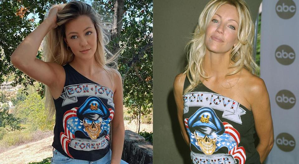 """I got it from my mama,"" Ava Sambora captioned the photo of herself posing in the one-shoulder ""Bon Jovi Forever"" T-shirt. (Photo: avasambora via Instagram/Getty Images)"