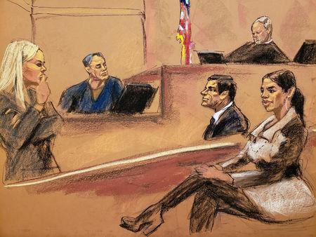 "Assistant U.S. Attorney Gina Parlovecchio (L) questions witness John Paul Osborne in this courtroom sketch as Emma Coronel Aispuro, the wife of Joaquin Guzman, looks on during the Brooklyn federal court trial of accused Mexican durg lord Joaquin ""El Chapo"" Guzman in New York City, U.S., January 24, 2019.  REUTERS/Jane Rosenberg"