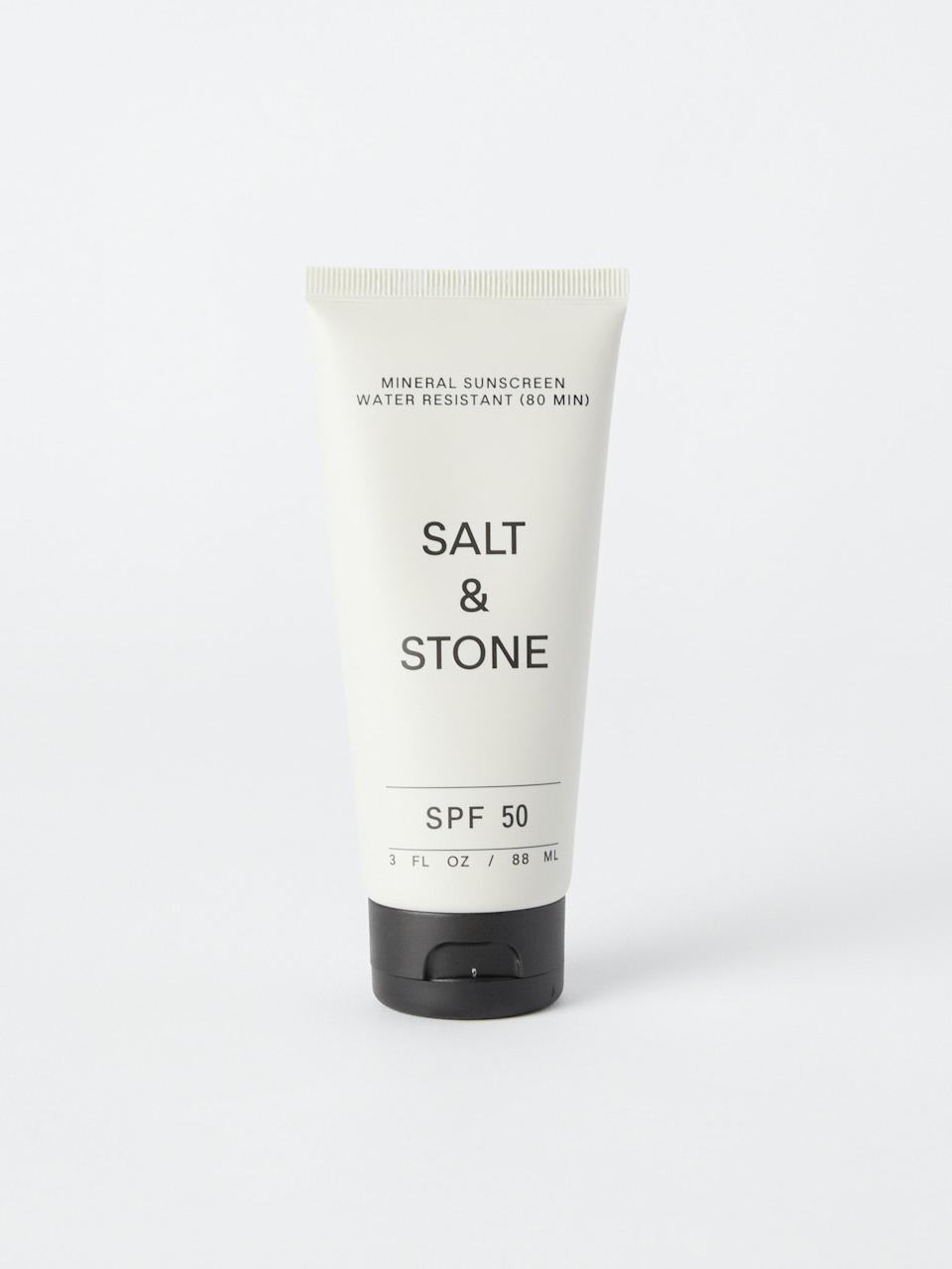 """<h3>Salt & Stone SPF 50 Sunscreen Lotion</h3><br>SPF 50 protection meets skin-care ingredients like rosehip oil and hyaluronic acid in this unscented, non-greasy sunscreen by Los Angeles-based brand Salt & Stone.<br><br><br><strong>Salt & Stone</strong> SPF 50 Sunscreen Lotion, $, available at <a href=""""https://go.skimresources.com/?id=30283X879131&url=https%3A%2F%2Fwww.verishop.com%2Fproduct%2Fp1882124976163"""" rel=""""nofollow noopener"""" target=""""_blank"""" data-ylk=""""slk:Verishop"""" class=""""link rapid-noclick-resp"""">Verishop</a>"""