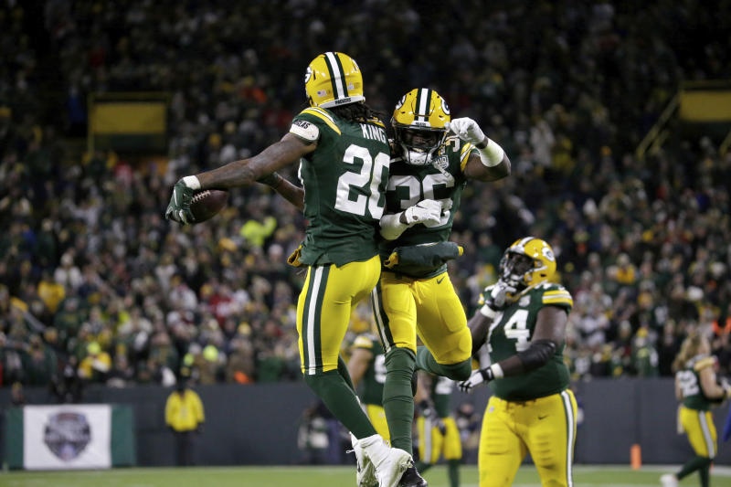 Green Bay Packers cornerback Kevin King (20) celebrates after intercepting a pass intended for San Francisco 49ers wide receiver Marquise Goodwin during the second half of an NFL football game Monday, Oct. 15, 2018, in Green Bay, Wis. The Packers won 33-30. (AP Photo/Mike Roemer)