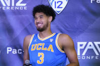UCLA's Johnny Juzang smiles during Pac-12 Conference NCAA men's college basketball media day Wednesday, Oct. 13, 2021, in San Francisco. (AP Photo/Jeff Chiu)