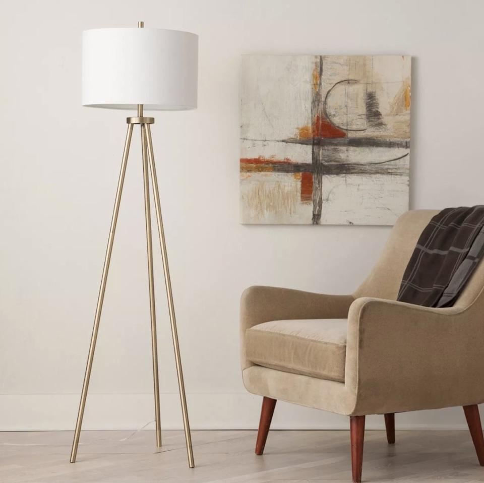 modern living room with lamp and picture and brown chair, target home decor items