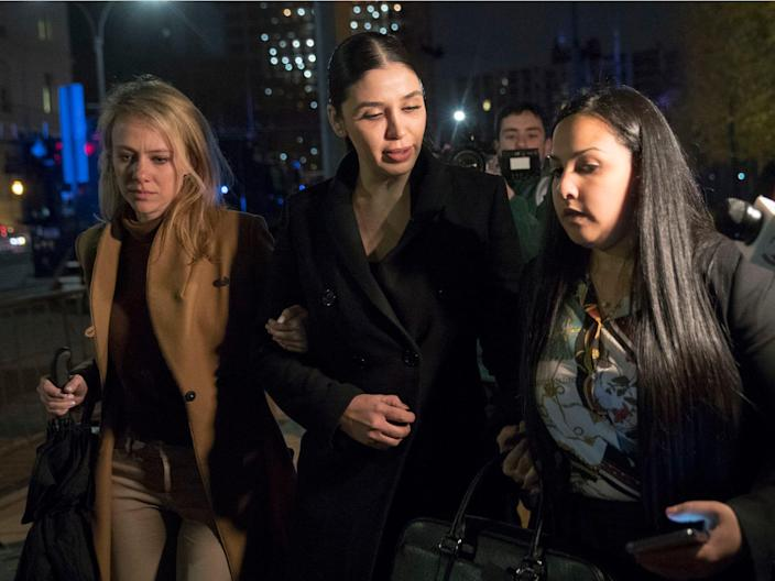 """Emma Coronel, center, the wife of Joaquin """"El Chapo"""" Guzman leaves Brooklyn Federal court after opening arguments in the trial of the Mexican drug lord. AP Photo:Mary Altaffer"""