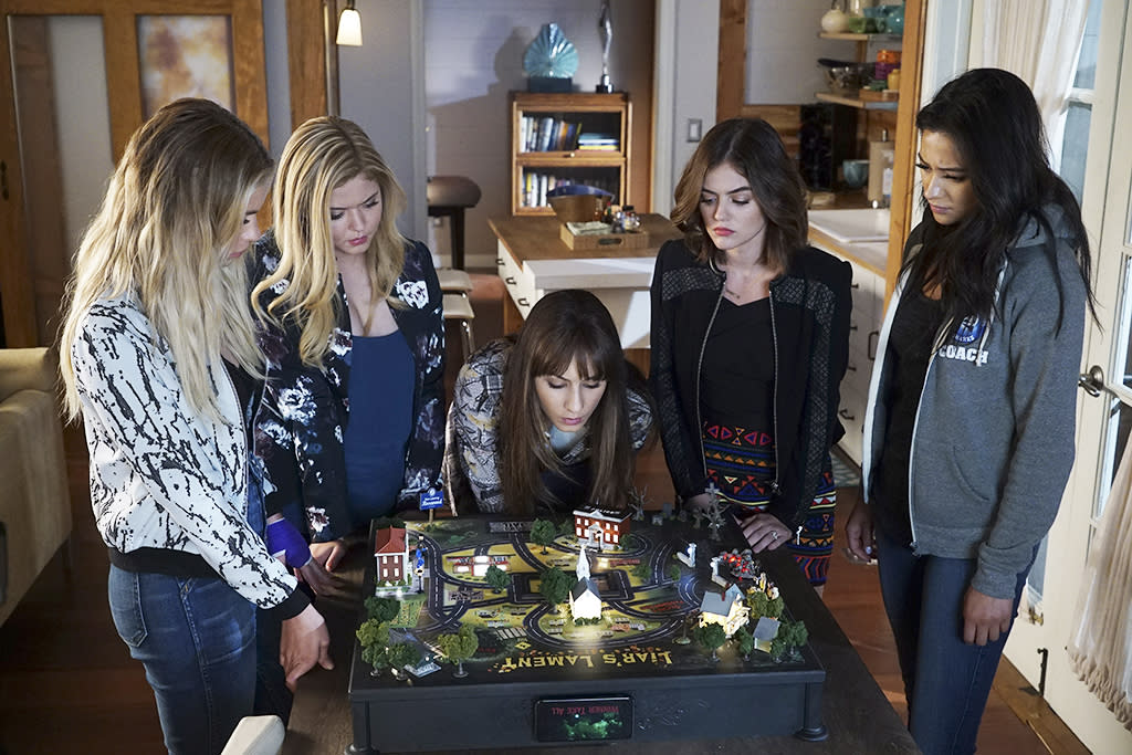 <p>Ashley Benson as Hanna Marin, Sasha Pieterse as Alison DiLaurentis, Troian Bellisario as Spencer Hastings, Lucy Hale as Aria Montgomery and Shay Mitchell as Emily Fields in Freeform's <i>Pretty Little Liars</i>.<br /><br />(Photo: Eric McCandless/ABC) </p>