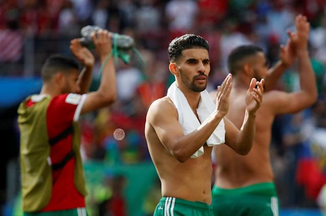 Soccer Football - World Cup - Group B - Portugal vs Morocco - Luzhniki Stadium, Moscow, Russia - June 20, 2018 Morocco's Mbark Boussoufa applauds fans after the match REUTERS/Maxim Shemetov