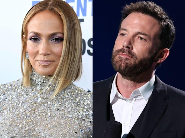 On the left: Jennifer Lopez posing at the 35th Film Independent Spirit Awards on Saturday, February 8, 2020. On the right: Ben Affleck on stage at a Global Citizen event in Inglewood, California.
