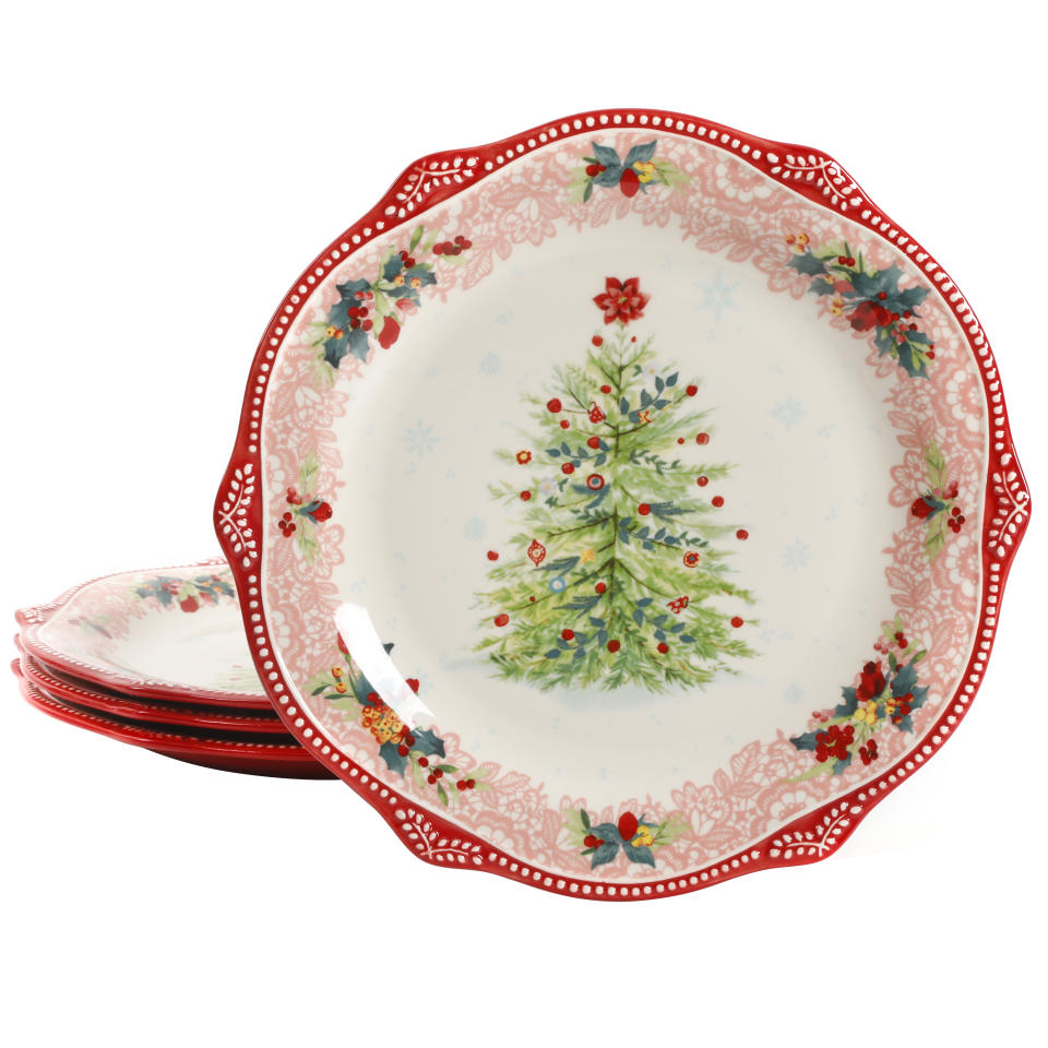 The Pioneer Woman Cheerful Lace Red 11.22-Inch Dinner Plates, Set of 4 (Walmart / Walmart)