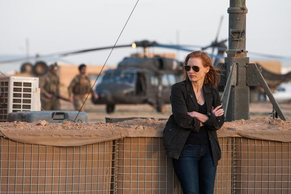 """<p>The nearly decade-long hunt for al-Qaeda leader Osama bin Laden was widely reported at the time. But it's an entirely different experience to watch the events that led up to his 2011 capture and death displayed onscreen. Jessica Chastain stars as the fictional CIA intelligence operative behind the operation. </p> <p><a href=""""https://www.amazon.com/Zero-Dark-Thirty-Jessica-Chastain/dp/B00BF11STU"""" rel=""""nofollow noopener"""" target=""""_blank"""" data-ylk=""""slk:Available to stream on Available Prime Video"""" class=""""link rapid-noclick-resp""""><em>Available to stream on Available Prime Video</em></a></p>"""