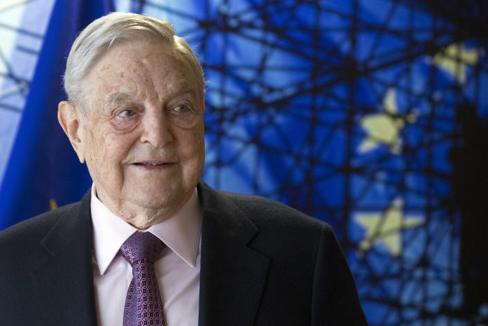 George Soros, founder and chairman of the Open Society Foundations, waits for the start of a meeting at the European Union headquarters in Brussels on April 27, 2017. (Photo: Olivier Hoslet/Pool/AP)