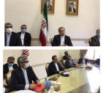 """This combined photo released by the Iranian Foreign Ministry, shows Iranian diplomats attending a virtual talk on nuclear deal with representatives of world powers, in Tehran, Iran, Friday, April 2, 2021. The chair of the group including the European Union, China, France, Germany, Russia, Britain and Iran said that the participants """"emphasized their commitment to preserve the JCPOA and discussed modalities to ensure the return to its full and effective implementation,"""" according to a statement after their virtual meeting, referring to the acronym for the accord — the Joint Comprehensive Plan of Action. Abbas Araghchi, center, heads the Iranian diplomats. (Iranian Foreign Ministry via AP)"""