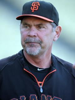 Giants manager Bruce Bochy prepares for Tuesday's game against the Dodgers. San Francisco managed just six hits in a 2-1 loss