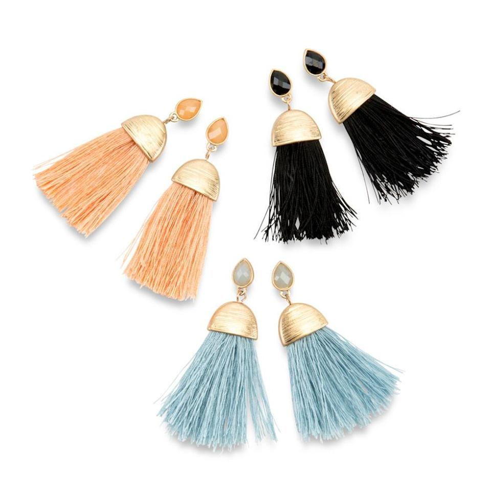 """<p>Add these fun, colorful earrings to her enviable bauble collection. ($28 per set; <a href=""""http://furbishstudio.com/products/cairo-tassel-earrings?variant=19152103813"""" rel=""""nofollow noopener"""" target=""""_blank"""" data-ylk=""""slk:furbishstudio.com"""" class=""""link rapid-noclick-resp"""">furbishstudio.com</a>)</p><p><strong>RELATED: <a href=""""http://www.redbookmag.com/home/g164/gift-wrapping-ideas/"""" rel=""""nofollow noopener"""" target=""""_blank"""" data-ylk=""""slk:Clever DIY Gift Wrapping Ideas for the Holidays"""" class=""""link rapid-noclick-resp"""">Clever DIY Gift Wrapping Ideas for the Holidays</a></strong><br></p>"""