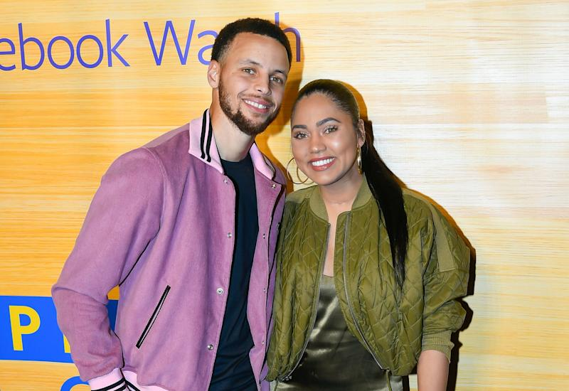 Ayesha Curry with her husband Stephen Curry earlier this month. (Photo: Steve Jennings/Getty Images)