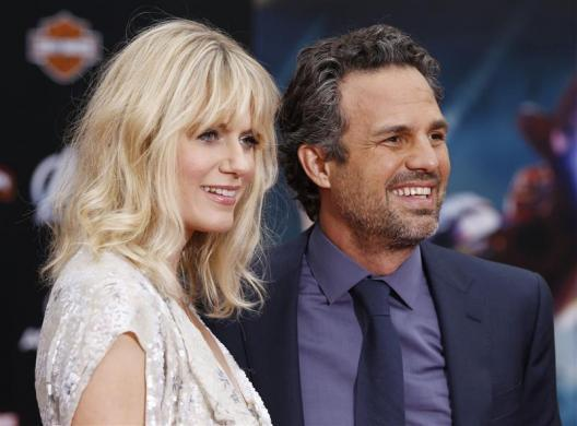 """Mark Ruffalo and wife Sunrise Coigney pose at the world premiere of """"Marvel's The Avengers"""" in Hollywood, April 11, 2012."""