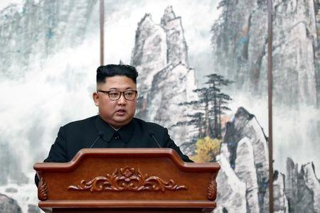 North Korean leader Kim Jong Un speaks during joint news conference in Pyongyang