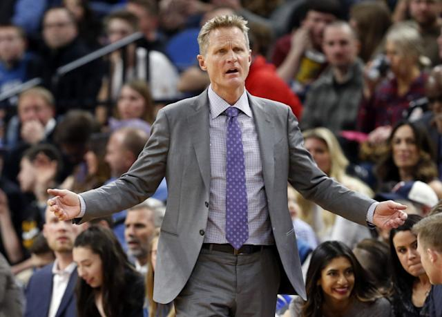 Will Steve Kerr return to the bench for this series? (AP)