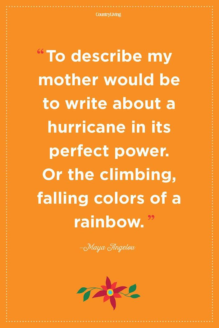 """<p>""""To describe my mother would be to write about a hurricane in its perfect power. Or the climbing, falling colors of a rainbow.""""<br></p>"""