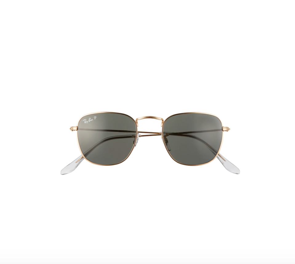 """<h2>Ray-Ban Frank 48mm Polarized Square Sunglasses</h2><br>Keep her on-trend with these classic Ray-Ban sunnies.<br><br><strong>Ray-Ban</strong> Frank 48mm Polarized Square Sunglasses, $, available at <a href=""""https://go.skimresources.com/?id=30283X879131&url=https%3A%2F%2Fwww.nordstrom.com%2Fs%2Fray-ban-frank-48mm-polarized-square-sunglasses%2F5799588"""" rel=""""nofollow noopener"""" target=""""_blank"""" data-ylk=""""slk:Nordstrom"""" class=""""link rapid-noclick-resp"""">Nordstrom</a>"""