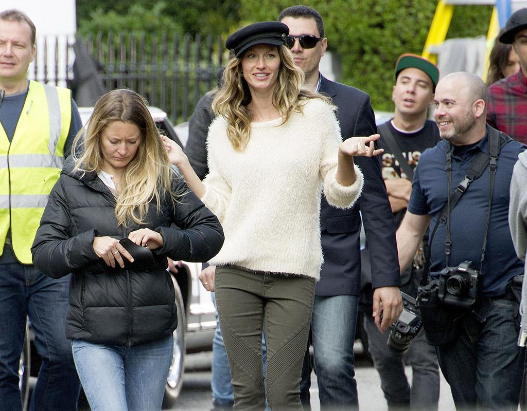 Supermodel Gisele Bundchen on a H&M Shoot in Chelsea today.