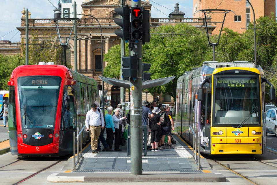 Trams at Victoria Square in Adelaide, South Australia. Source: Getty