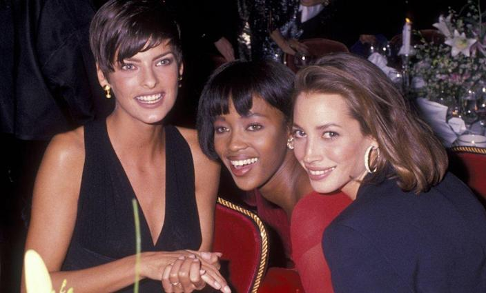 Linda Evangelista, Naomi Campbell and Christy Turlington pictured in 1989
