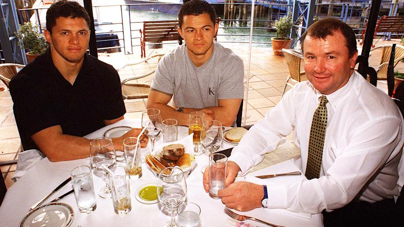 League stars Henry Paul (L) and Robbie Paul (C) take a photo at lunch with Auckland Warriors Managing Director Graham Lowe (R).