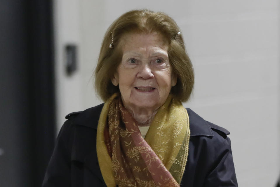 FILE - In this Dec. 15, 2019, file photo, Pittsburgh Steelers co-owner Patricia Rooney arrives for the team's NFL football game against the Buffalo Bills in Pittsburgh. Rooney, the wife of late Steelers chairman Dan Rooney, has died. She was 88. The Steelers said in a statement that Patricia Rooney died peacefully at her home on Saturday, Jan. 30, 2021. A cause of death was not given. (AP Photo/Keith Srakocic, File)