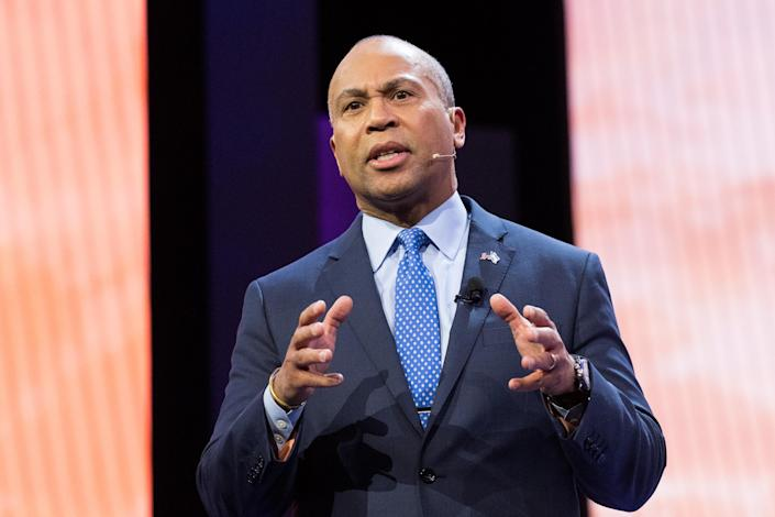 Deval Patrick speaking at the American Israel Public Affairs Committee Policy Conference in 2018. (Photo: Michael Brochstein/SOPA Images/LightRocket via Getty Images)